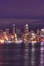 Preview iPhone wallpaper USA, Washington, Seattle, city night, lights, buildings, river