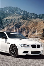 Preview iPhone wallpaper White BMW M3 car, 1013MM, mountains, windmill