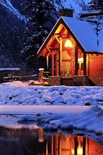 Preview iPhone wallpaper Winter, Cozy mountain lodge, Emerald Lake, Yoho National Park, Canada