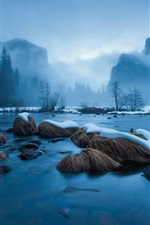 Preview iPhone wallpaper Winter snow, lake, rocks, trees, mountains, blue, fog