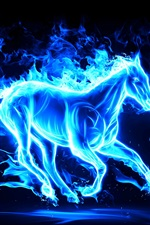 Preview iPhone wallpaper 2014 New Year, blue abstract horse