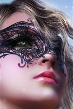 Preview iPhone wallpaper Art fantasy girl face, mask, fairy