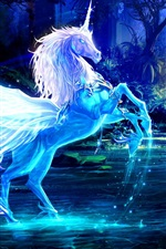 Preview iPhone wallpaper Art pictures, unicorn, horse, water, rays, forest, blue