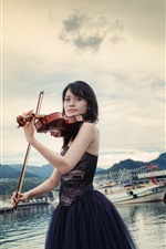 Preview iPhone wallpaper Asian girl, violin, music, pier