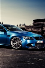 Preview iPhone wallpaper BMW M3 blue car side view