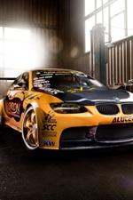 BMW M3 supercar, garage, yellow