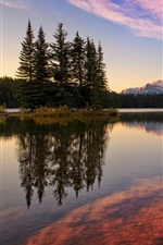 Banff National Park, Canada, Jack Lake, forest, mountains, sky, sunset