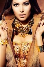 Beautiful model girl, jewelry, warm