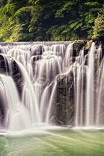 Preview iPhone wallpaper Beautiful waterfall, nature, Shifen Waterfall, Taiwan, forest