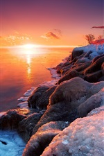 Preview iPhone wallpaper Beautiful winter sunrise, lake, ice, snow