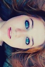 Preview iPhone wallpaper Blue eyes girl, wood flooring