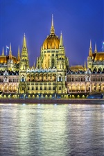 Preview iPhone wallpaper Budapest, Hungary, city night, parliament building, lighting, river