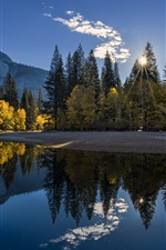 Preview iPhone wallpaper California, Yosemite National Park, mountains, forest, lake, sunrise