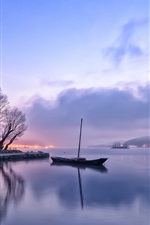 Preview iPhone wallpaper Early morning, dawn, lights, lake, reflection, boat, trees, fog