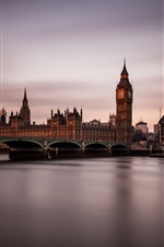 Preview iPhone wallpaper England, London, night, twilight, city, bridge, house