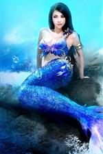 미리보기 iPhone 배경 화면 판타지 소녀, 인어, 바다, 수중