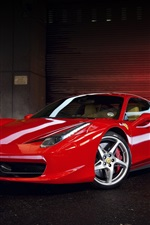 Ferrari 458 Italia, vista lateral supercarro vermelho