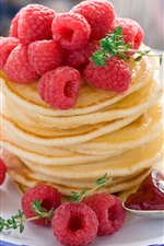 Preview iPhone wallpaper Food, pancakes, fruit, red raspberry, dessert, fruits