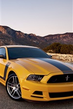 Preview iPhone wallpaper Ford Mustang Boss 302 yellow car