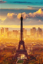 Preview iPhone wallpaper France, Paris, the Eiffel Tower, autumn, sky, clouds, morning