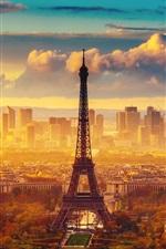 미리보기 iPhone 배경 화면 프랑스, 파리, 에펠 탑, 가을, 하늘, 구름, 아침