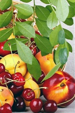 Preview iPhone wallpaper Fruits, peaches, cherries, basket, leaves