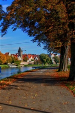 Preview iPhone wallpaper Germany, Bavaria, city, houses, river, road, trees, autumn