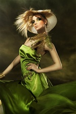 Preview iPhone wallpaper Green dress fashionable girl