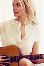 Preview iPhone wallpaper Guitar girl, white dress, blonde