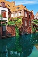 Preview iPhone wallpaper Houses, river, plants, bridge, blue sky