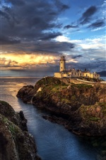 Preview iPhone wallpaper Ireland, lighthouse, ocean, seascape, sunset, clouds