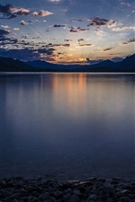 Preview iPhone wallpaper Italy, Lake Maggiore, stones, water, evening, sunset