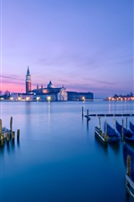 Preview iPhone wallpaper Italy, Venice, town, pier, boats, sea, evening, sunset, lights