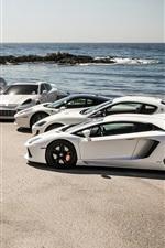 Preview iPhone wallpaper Lamborghini, Maserati, Ferrari, Porsche, Mercedes-Benz, sea, coast