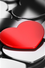 Preview iPhone wallpaper Love hearts, only one red