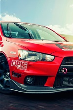 Preview iPhone wallpaper Mitsubishi Lancer Evolution X, red supercar