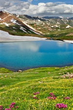 Preview iPhone wallpaper Nature landscape, spring, sky, clouds, mountains, lake, grass