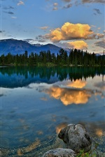 Nature scenery, mountains, forest, lake, rocks, dawn