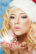 미리보기 iPhone 배경 화면 새해, 겨울, 눈 처녀, 아름다운 요정 소녀