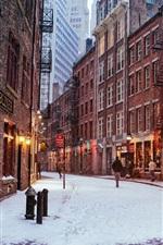 Preview iPhone wallpaper New York City, Manhattan, USA, city night, winter, lights