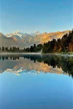 Preview iPhone wallpaper New Zealand, Westland National Park, Fox Glacier, lake, mountains, forest