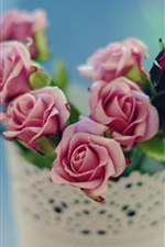 Preview iPhone wallpaper Pink rose, vase, flowers, blur background