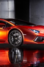 Preview iPhone wallpaper Print Tech Lamborghini Aventador orange supercar