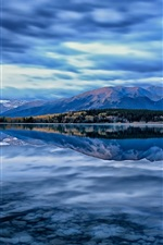 Preview iPhone wallpaper Pyramid Lake, Jasper National Park, Alberta, Canada, mountains, sky, blue