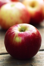Preview iPhone wallpaper Red apples, wooden table
