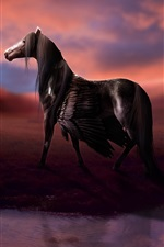 Preview iPhone wallpaper Rendering horse, wings, pegasus, water, clouds