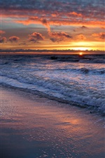 Sea waves, water, beach, sunset, sky, clouds, nature landscape