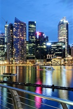 Singapore, city, evening, dusk, lights, buildings, water