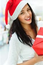 Preview iPhone wallpaper Smiling Christmas girl, gift box, ribbon