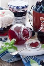 Preview iPhone wallpaper Still life, food, jam, blueberries, blackberries, jars, pots, spoons